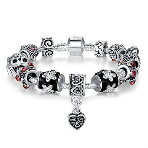 Charm-armband Lucky Charms (Presentski 925 Sterling Silber Anhänger Charm Armband mit Lucky Frosch Charms für Mom Vater Schwestern)