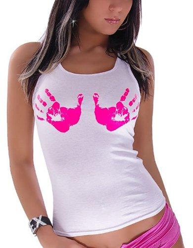 Tanktop Handabdrücke Einheitsgröße für 34,36,38 Weiß Pink (Pink Gogo Stiefel)