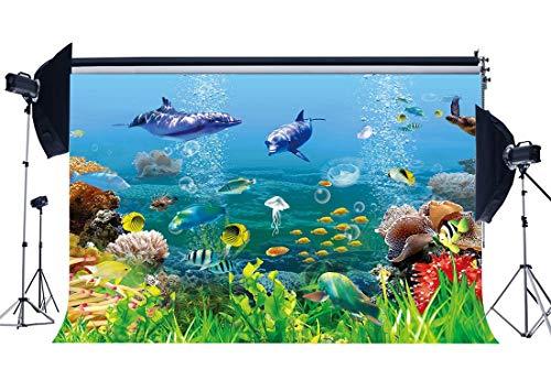 BuEnn Vinyl 5X3FT Unterwasserwelt Kulisse 3D Aquarium Kulissen Fisch Delphin Schildkröte Unter Dem Meer Fotografie Hintergrund für Jungen Raumdekoration Tapete Geburtstag Fotostudio Requisiten YX379 (Fisch-tank-speicher)