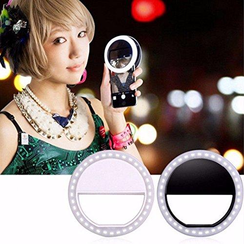 Uniquefire Bianco 36 LED Auto IE Selfie Luce Lampeggiare Migliorando Anello Luce Notte Riempire Luce Migliorare Mini Portatile Selfie Fotocamera per Smartphone