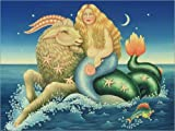 Posterlounge Stampa su legno 40 x 30 cm: Capricorn with mermaid di Frances Broomfield/Bridgeman Images
