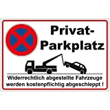 Schild 300x200 mm Privatparkplatz, stabil aus PVC Hartschaum Platte - 3 mm stark