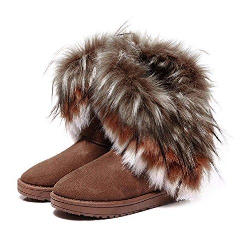 Zeagoo Damen Winter Schnee Knöchel Boots warme Pelz Schuhe - Brun 1