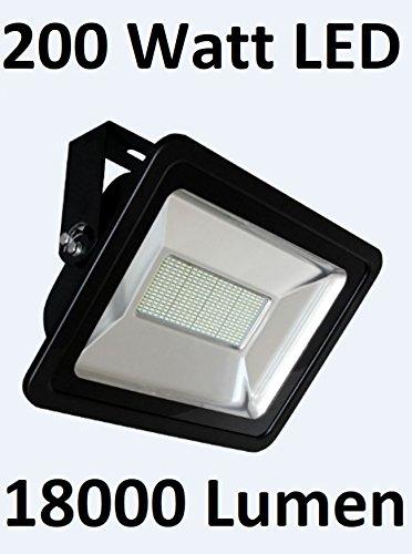 200 Watt LED illuminazione per esterni, proiettore, luce di inondazione, angolo di illuminazione 120°, Bianco freddo 6000 K, 18000 Lumen = 1750 Watt proiettore alogeno, IP65