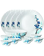 Larah By Borosil Mimosa Opalware Dinner Set, 14-Pieces, White