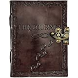 Mangalmurti Handicrafts Leather Journal Diary With Engraved The Journey 7 X 5 Inch Brown