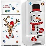 Sayala 2Pcs Autocollant De Noël Décoration,Joyeux Noël Elk mur Sticker de fenêtre de Noël Sticker mural amovible décoration de la maison (Santa)