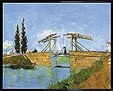 Vincent Van Gogh Poster Kunstdruck und Kunststoff-Rahmen - Die Brücke Von Langlois Bei Arles Und Dame Mit Regenschirm, 1888 (50 x 40cm)