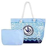 Czemo Große PVC Strandtasche mit Reißverschluss und Innentasche Wasserdicht Badetasche Transparent...
