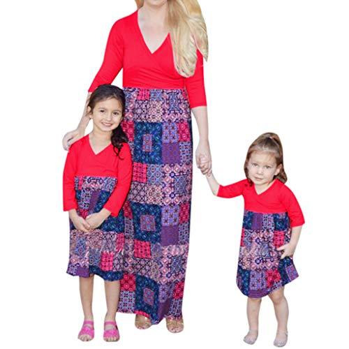 Quaan Mama & ich Kind VAusschnitt Langarm Blumendruck Block Familie Kleidung Kleid Vintage Baumwolle Hepburn Stil Blumen Tupfen Kleid (Party Halloween Für Ideen Block Eine)