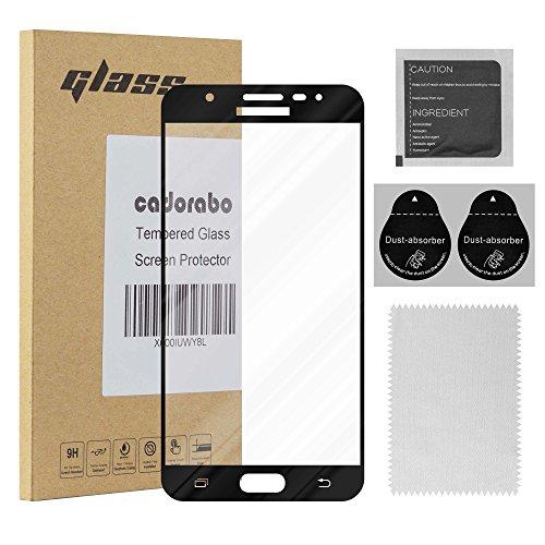 Cadorabo Vollbild Panzer Folie für Samsung Galaxy J7 Prime / ON7 2016 - Schutzfolie in TRANSPARENT mit SCHWARZ - Gehärtetes (Tempered) Bildschirm-Schutzglas in 9H Härte mit 3D Touch Kompatibilität