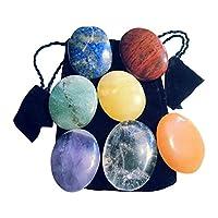 7pietre chakra pollice/amuleto in pietra delle 7Chakra, cristallo di rocca, ametista, lapislazzuli, avventurina verde, avventurina arancione, avventurina giallo e diaspro rosso (anche altre pietre sono delle Chakra e possono essere utilizza...