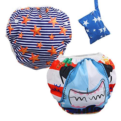 Lictin 2 Pcs Pañales Reutilizables de Natación, Pañales de Natación Ajustables Para Bebés de 0...