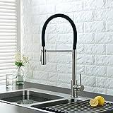 [Robinet en acier inoxydable # 304] uuhome Mitigeur du robinet évier avec douchette extractible, robinet de la cuisine, couleur noir, 5ans garantía- NT15H
