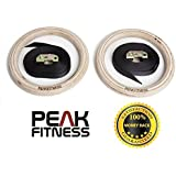 Anillos de madera de gimnasia de Peak Fitness, Anillos olímpicos de gimnasia de alta calidad con correas