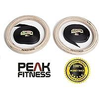 Anelli da ginnastica in legno Peak Fitness, professionali, alta qualità, con cinghie e fibbie