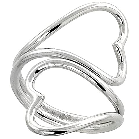 Revoni Sterling Silver Hand Made Heart Shape Wire Wrap Ring, 1 3/16