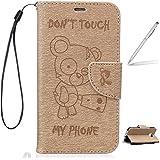 "Trumpshop Smartphone Case Coque Housse Etui de Protection pour Samsung Galaxy A3 (2016,A310,4.7"") + Don't Touch My Phone (Ourson) Or + PU Cuir [Non compatible avec A3 (2015,A300,4.5"")]"