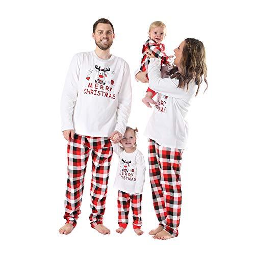 WEICICI Baumwolle Plaid Printed Pyjamas Set Frohe Weihnachten Familie Passende Pyjamas Kit für Papa Mama Kinder Baby (3M-6T)