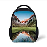 Kids School Backpack Cottage Decor,Snowy Peaks Mirroring in a Lake Surrounded by Meadow Below Stubai...