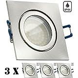 3er IP44 LED Einbaustrahler Set Silber gebürstet mit LED GU10 Markenstrahler von LEDANDO - 3,5W - warmweiss - 120° Abstrahlwinkel - Feuchtraum / Badezimmer - 25W Ersatz - A+ - LED Spot 3,5 Watt - eckig