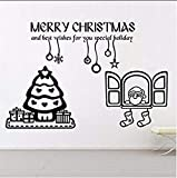 Lvabc Merry Christmas Office Vinyl Wall Stickers for Living Room Holiday Home Decoration Wallpaper Decals Poster 66X42Cm