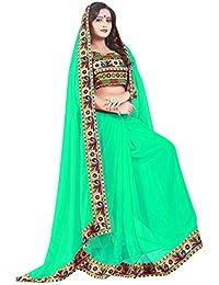 Vinayak Trendz Women's Chiffon Saree Sale With Blouse Piece Sari(Y_Manbhari_seagreen)
