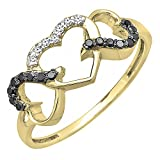 DazzlingRock Collection 0,15 Carat (quilate) 14 K Oro Blanco y Negro Diamante Tres corazón Infinito Amor Anillo