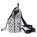Fashion Nottilucent Women Backpack Diamond Lattice Bag Ologramma Bag Travel Geometric Teenage Girl School Zaino Luminoso White