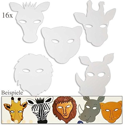 Dschungeltier Masken, H: 22,5-25 cm, 16 sort., 220 (Pappmaché Maske Designs)