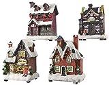 Casetta di Natale con Luce a LED, Modelli Assortiti, Ceramica, Multicolore, 9 x 5 x 12 cm