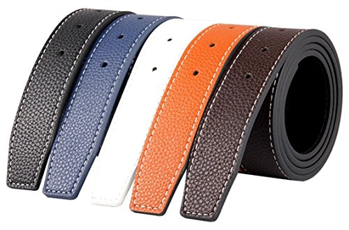 QHA Mens H Leather Belt Reversible Strap Without Buckle Q02