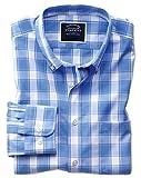 Bügelfreies Classic Fit Popeline-Hemd mit Button-down Kragen und Karos in Blau und Weiß Knopfmanschette