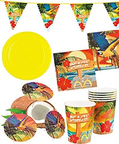 Party Set XXL Hawaii Beach Ara gelb 33 Teile : Teller, Becher, Servietten, Cocktail-Schirmchen, Wimpelkette