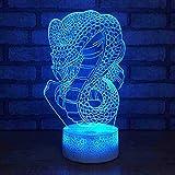 Lampada serpente creativa 3D Risparmio energetico Elettricità Lampada da notte Cabina Vendita calda Led Colorato Cambio colore Lampada per bambini Telecomando