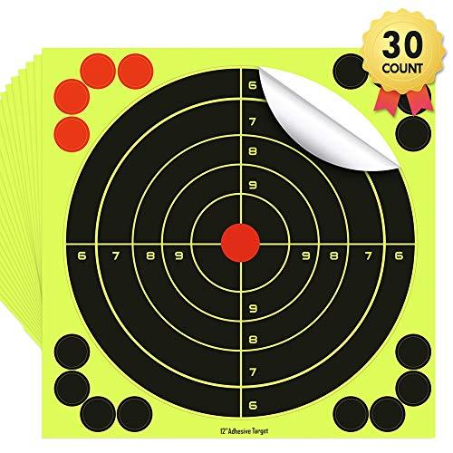 Leezo Shooting Ziele Papier Bright Fluorescent Yellow Splatter Schießen Ziele Aufkleber für alle Feuerwaffen Air Rifles Pistolen Airsoft Bb Pellet-Guns - 8/12 / 14,5 Zoll (Bb Schwarz Gun-alle)