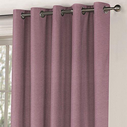 Mason Gray Fusion – Sorbonne – Plain Colour 100% Cotton Lined Eyelet Curtains – 90×90 (229 x 229 cm), Heather