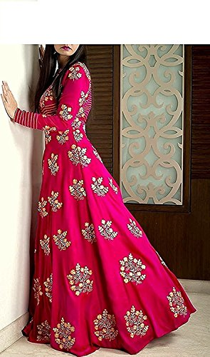 Jay Ambe Fashion Women\'s Tapeta Silk Anarkali Salwar Suit Set (Pink 3131_Pink_Free Size)