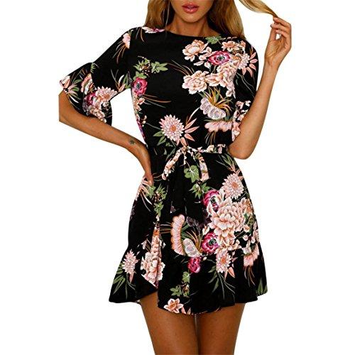 Moonuy,Frauen kurzes Kleid, Damen über dem Knie, Minikleid Mode Schmetterling Ärmel Spaghetti Strap Blumendruck Ra-ra Rock Strand Stil Skater eine Linie Kleid (EU 38 / Asien L, ()
