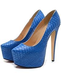 Xianshu Mujeres Sexy Nightclub Zapatos Poco Superficial Plataforma Extra-alto Talón Bombas