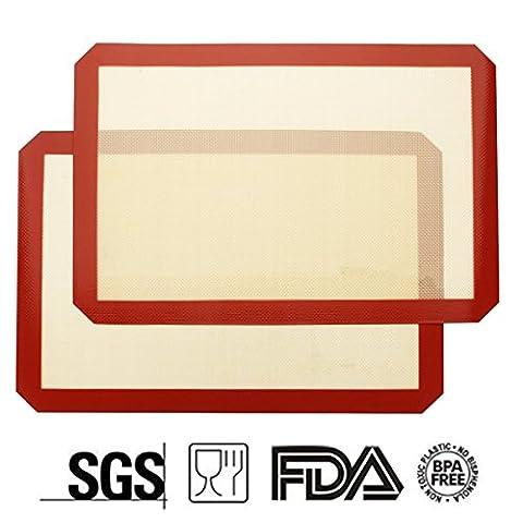 Tapis de Cuisson en Silicone PLUIESOLEIL Résistant à haute température Antidérapant et Anti-adhérent tôle à Biscuits Utilisable au Réfrigérateur, Four et Micro-ondes Dimensions idéales 42X29.5 cm [2 Pièces]