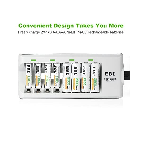 EBL Batteries with Charger, 808 AA AAA Battery Charger with 2800mAh AA Rechargeable Batteries (4 Pack) and 1100mAh AAA… 3