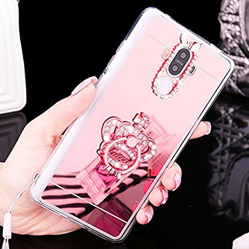 Custodia Cover per Huawei Nova, Ukayfe Cover Specchio Lusso Placcatura Lucido di Cristallo di Scintillio Strass Diamante Glitter Caso per iPhone 7 Plus[Crystal TPU] [Shock-Absorption] Protettiva Ultra Corona di Diamante Oro rosa 1#