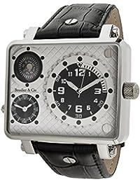 Boudier & Cie Herren Metropolitain Kingsize Collection Quarz Armbanduhr mit zwei Zeitzonen und eckigem Gehäuse - Analoge Anzeige - Kompass - Lederarmband Gehäuse aus Edelstahl Größe XL - OZG1135-BC