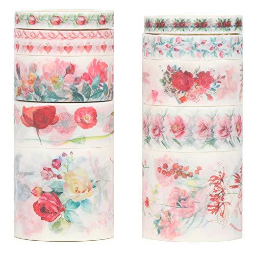 Molshine Floral Washi Masking Tape 10er Set Frühlingsblumen Dekorative Sticky Paper Tapes für DIY Basteln, Geschenkverpackung, Bullet Journal, Planer, Scrapbooking a