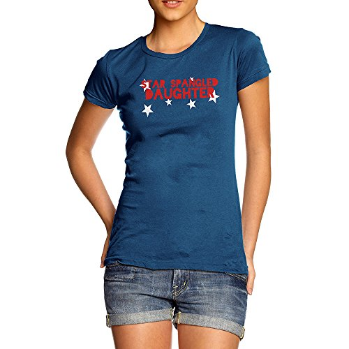 TWISTED ENVY Womens Humor Novelty Graphic Funny T Shirt Star Spangled Daughter 4th July
