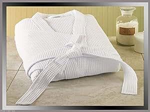 Pure Peignoir de bain tissage gaufré de qualité hôtelière 100 % coton turc unisexe avec chaussons en tissu éponge