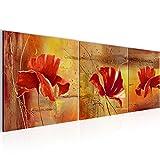 Wandbild Blumen Mohnblume Bilder 120 x 40 cm Vlies - Leinwand Bild XXL Format Wandbilder Wohnzimmer Wohnung Deko Kunstdrucke Orang 3 Teile - MADE IN GERMANY - Fertig zum Aufhängen 201133a