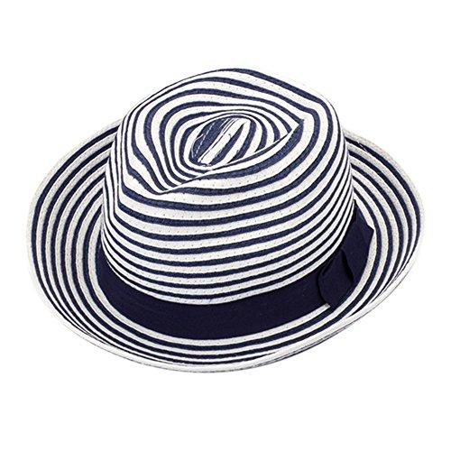 XY Fancy Damen Outdoor Sonnenschirm Cap Gestreifte Strickmütze Strohhot mit Schleife Strohhut (Vogelscheuche Kleinkind Kostüme)