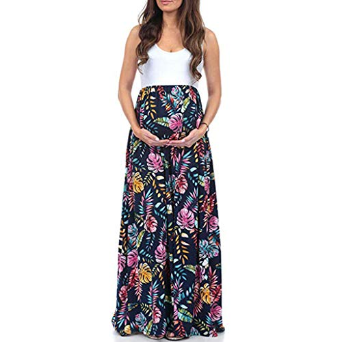 Baiomawzh Umstandskleid Damen Sommer Schwangere Stillzeit Blumendruck Ärmellos Spleiß Stillkleid Maternity Kleid Elegant Casual Multifunktional Nursing Maxikleider Umstandskleidung